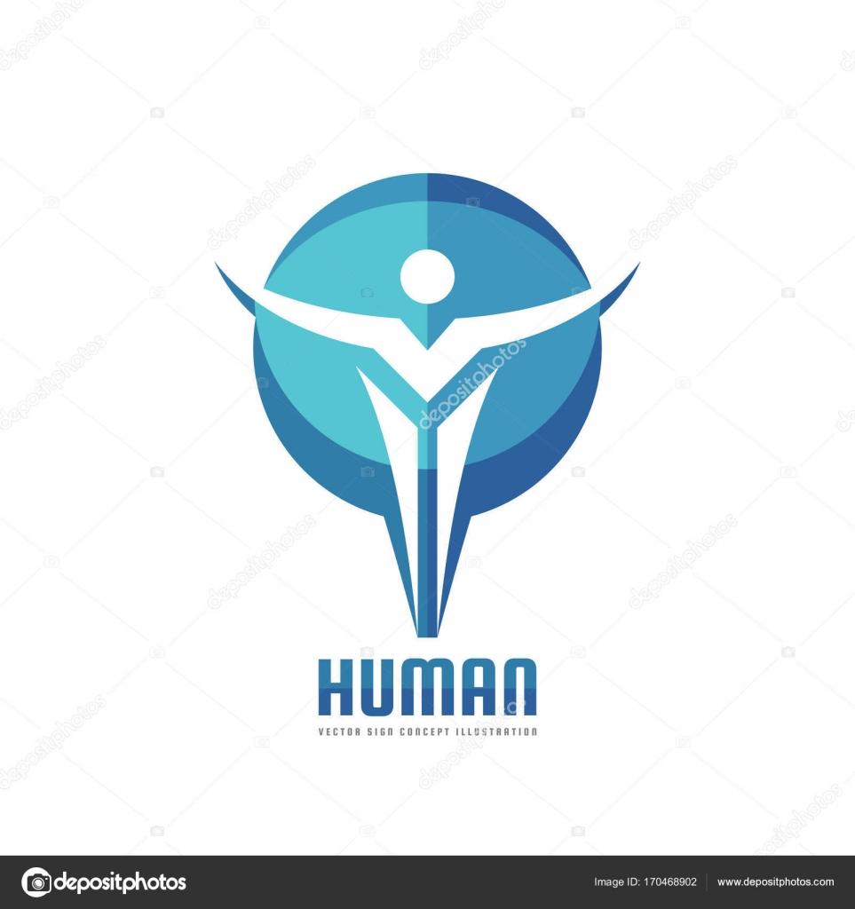 Abstract Human Character In Circle Shape Vector Logo