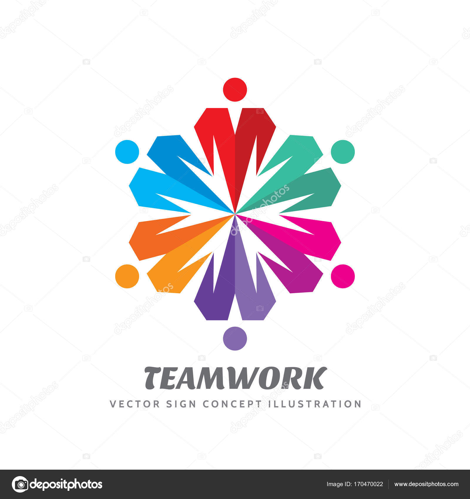 Teamwork vector logo template creative illustration. People group ...