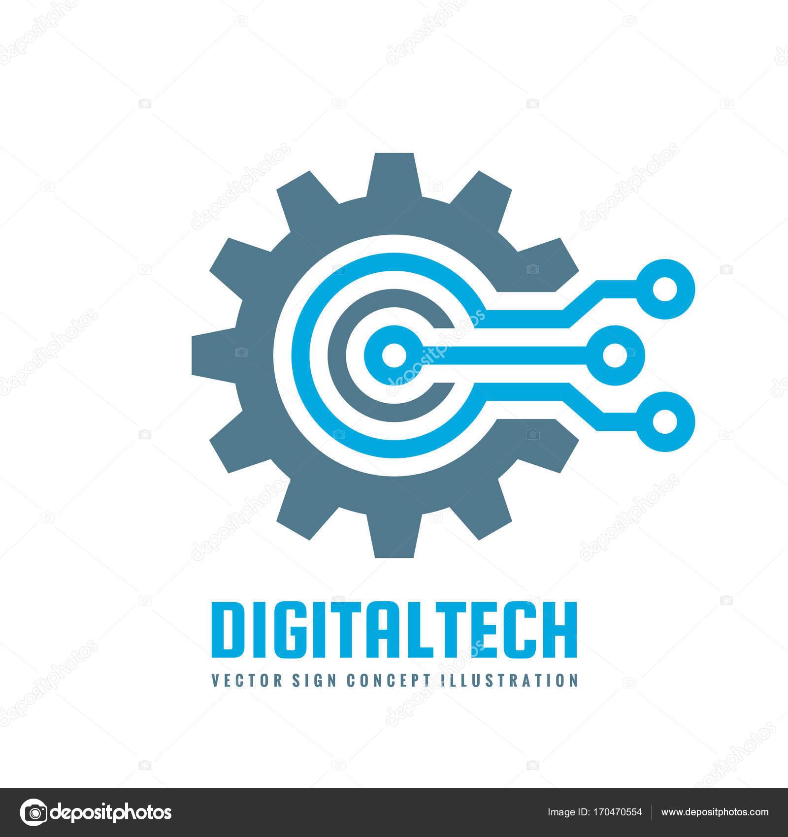 Digital tech vector business logo template concept illustration digital tech vector business logo template concept illustration gear electronic factory sign cog wajeb Gallery