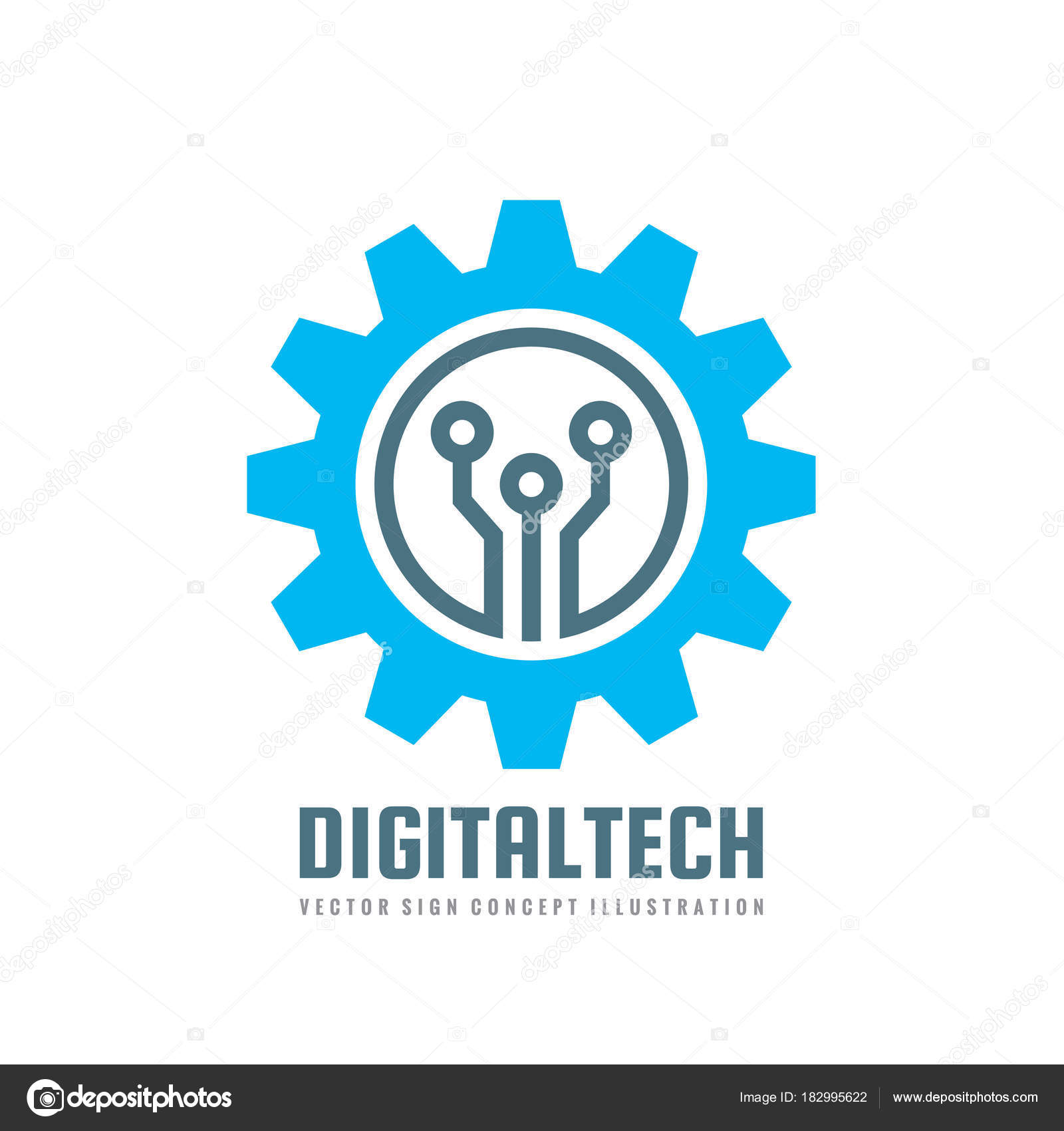 Digital tech vector business logo template concept illustration gear digital tech vector business logo template concept illustration gear electronic factory sign cog wheel technology symbol mining industry seo emblem cheaphphosting Gallery