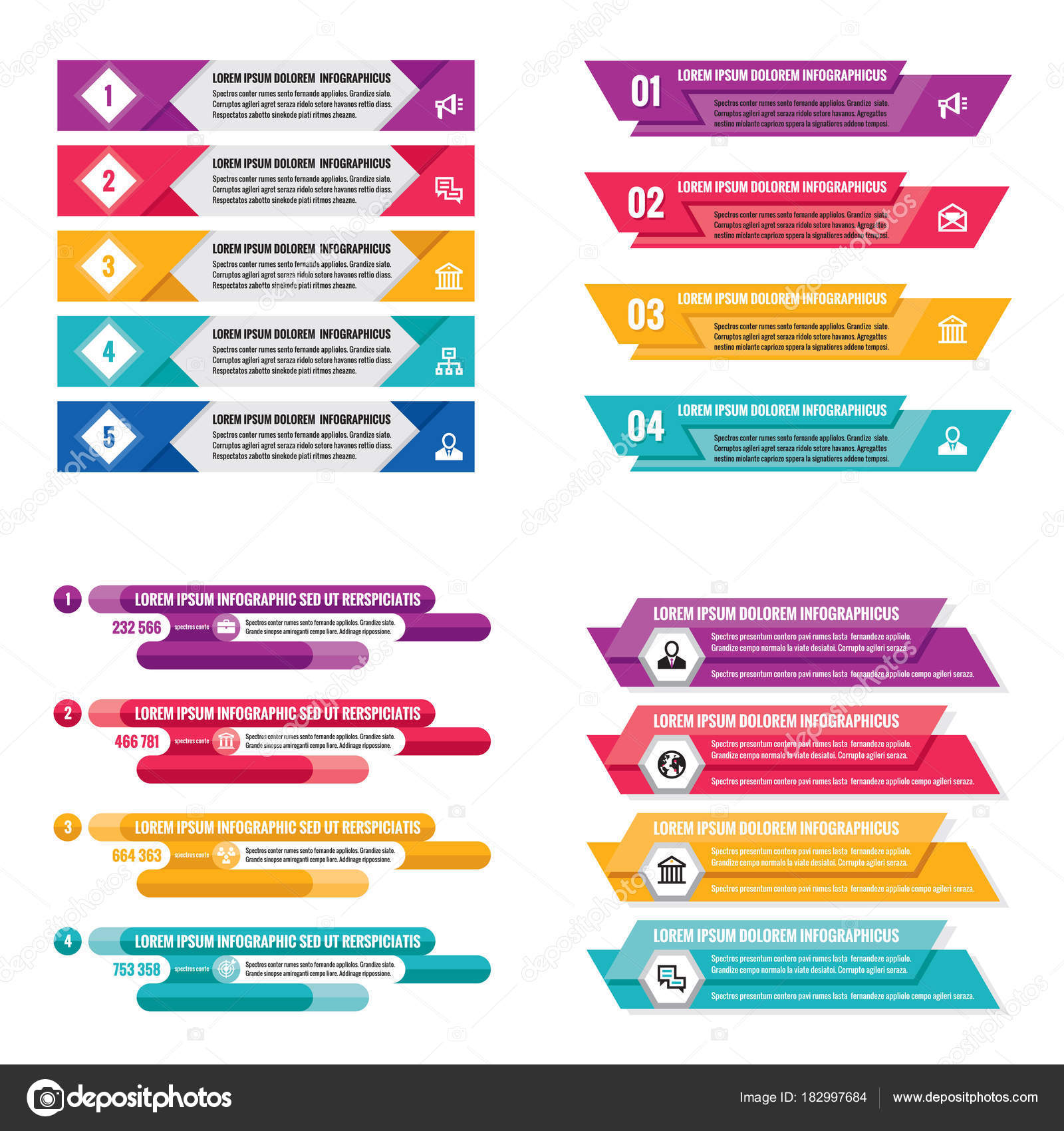 Infographic elements template business concept horizontal banners infographic elements template business concept horizontal banners presentation brochure website stock vector cheaphphosting Images