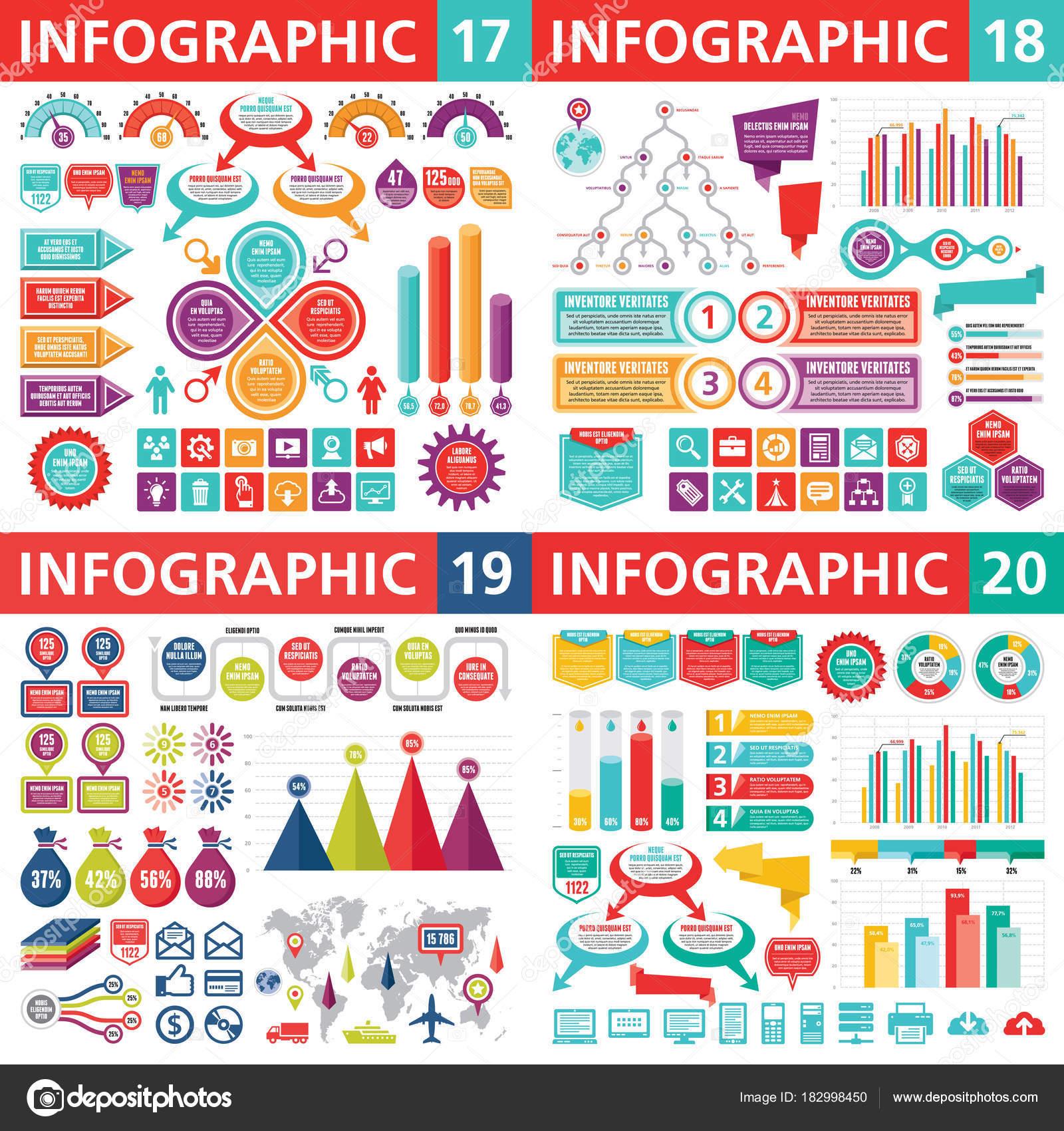 Elementos Diseño Negocios Infografía Ilustración Vectorial Colección ...