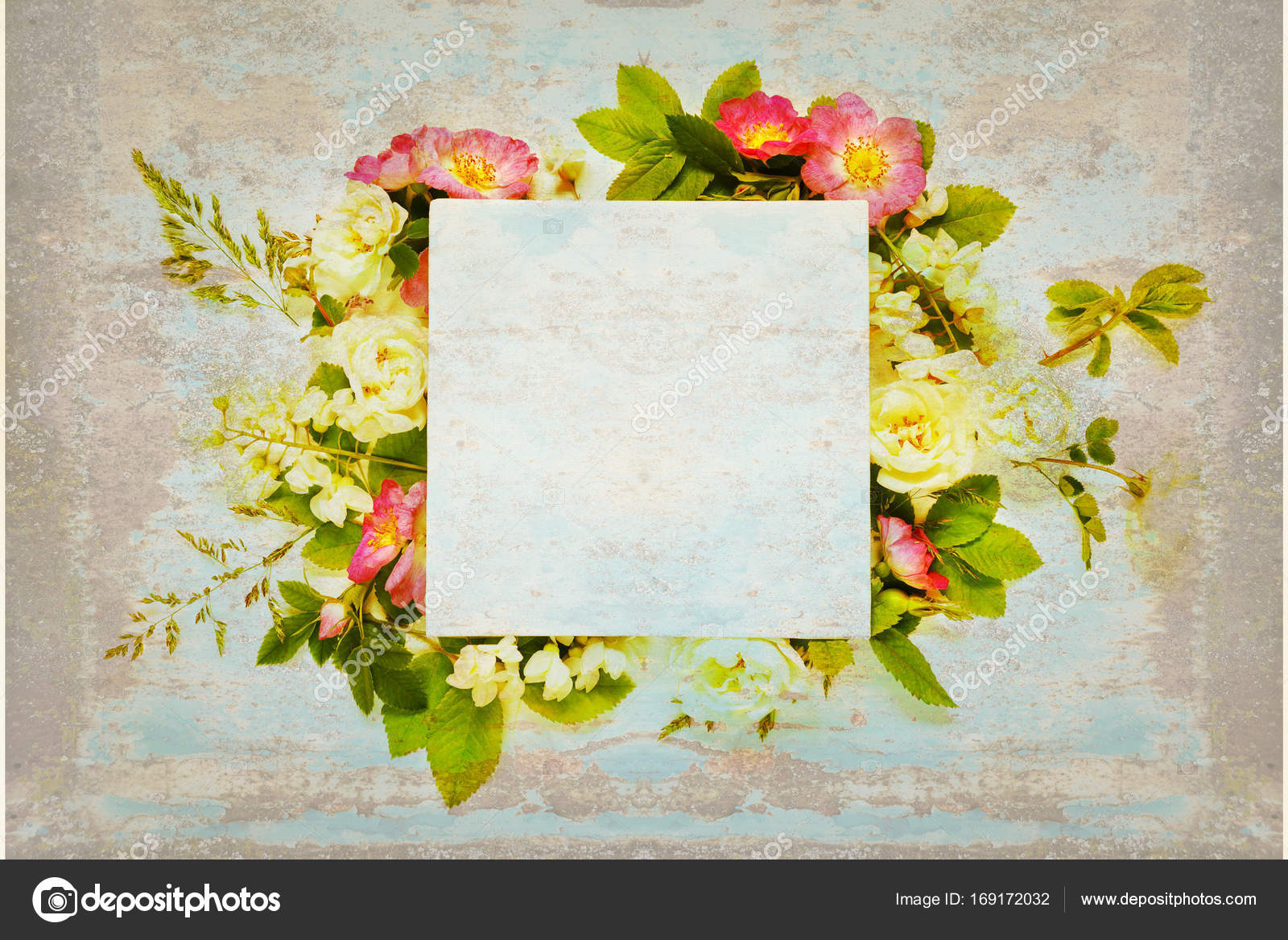 Old Scrapbook Page With Wild Roses And White Flowers Stock Photo