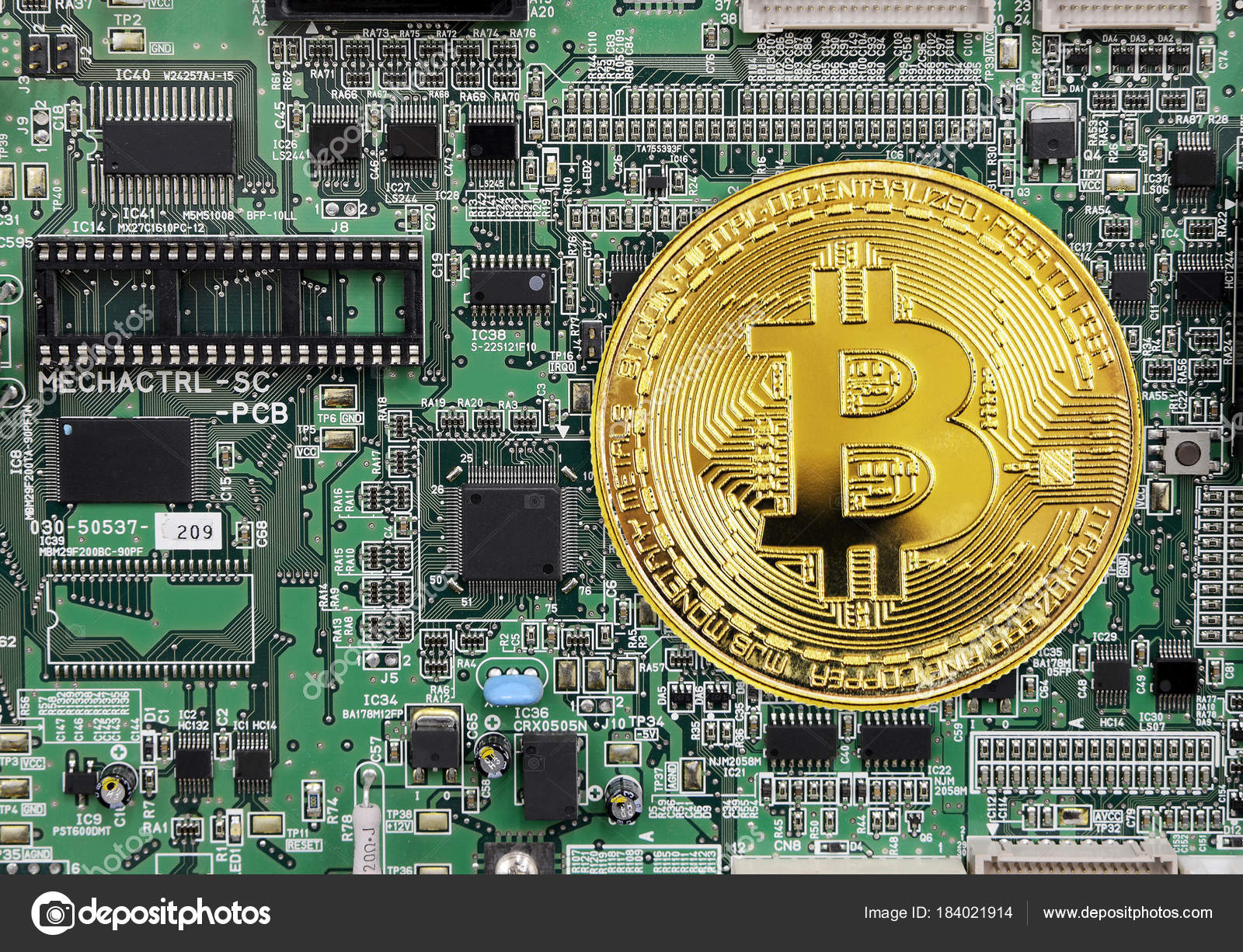Electronic Circuit Board With Bitcoin Stock Editorial Photo Free Image Of Printed Sciencestockphotoscom