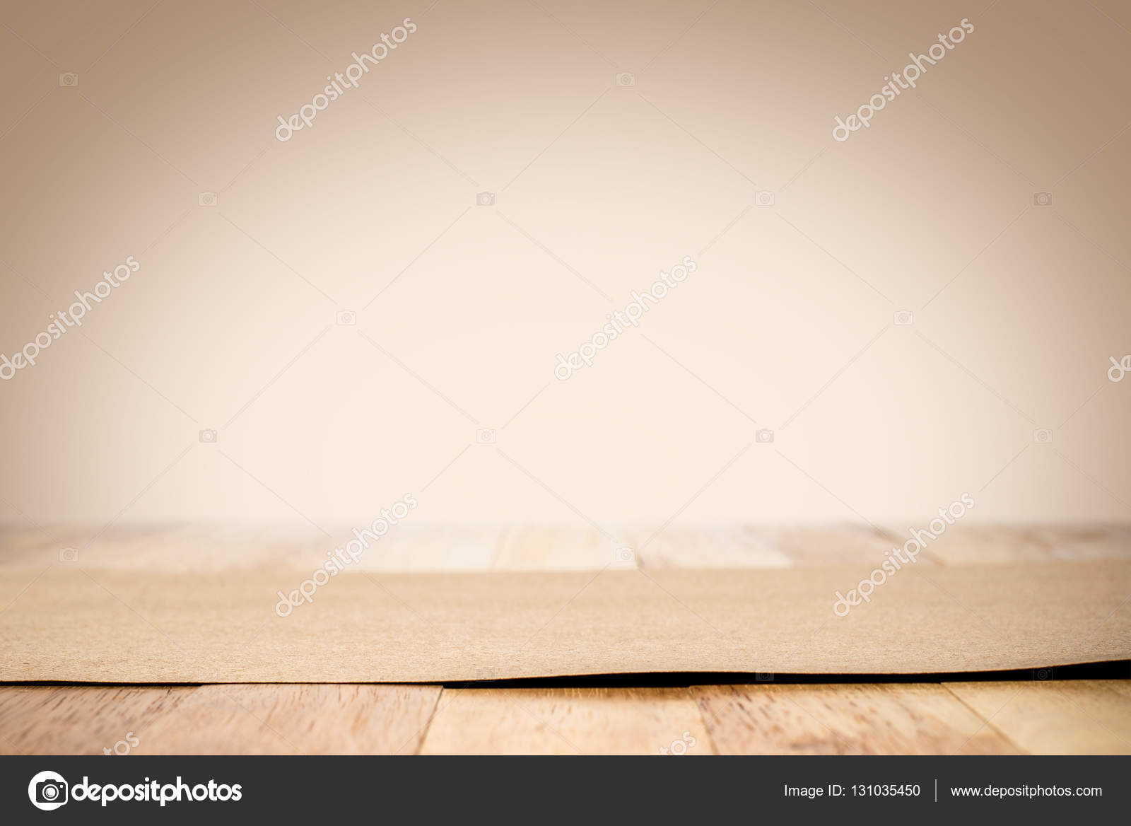 Brown Paper On Wood Table Top In Light Gradient Background