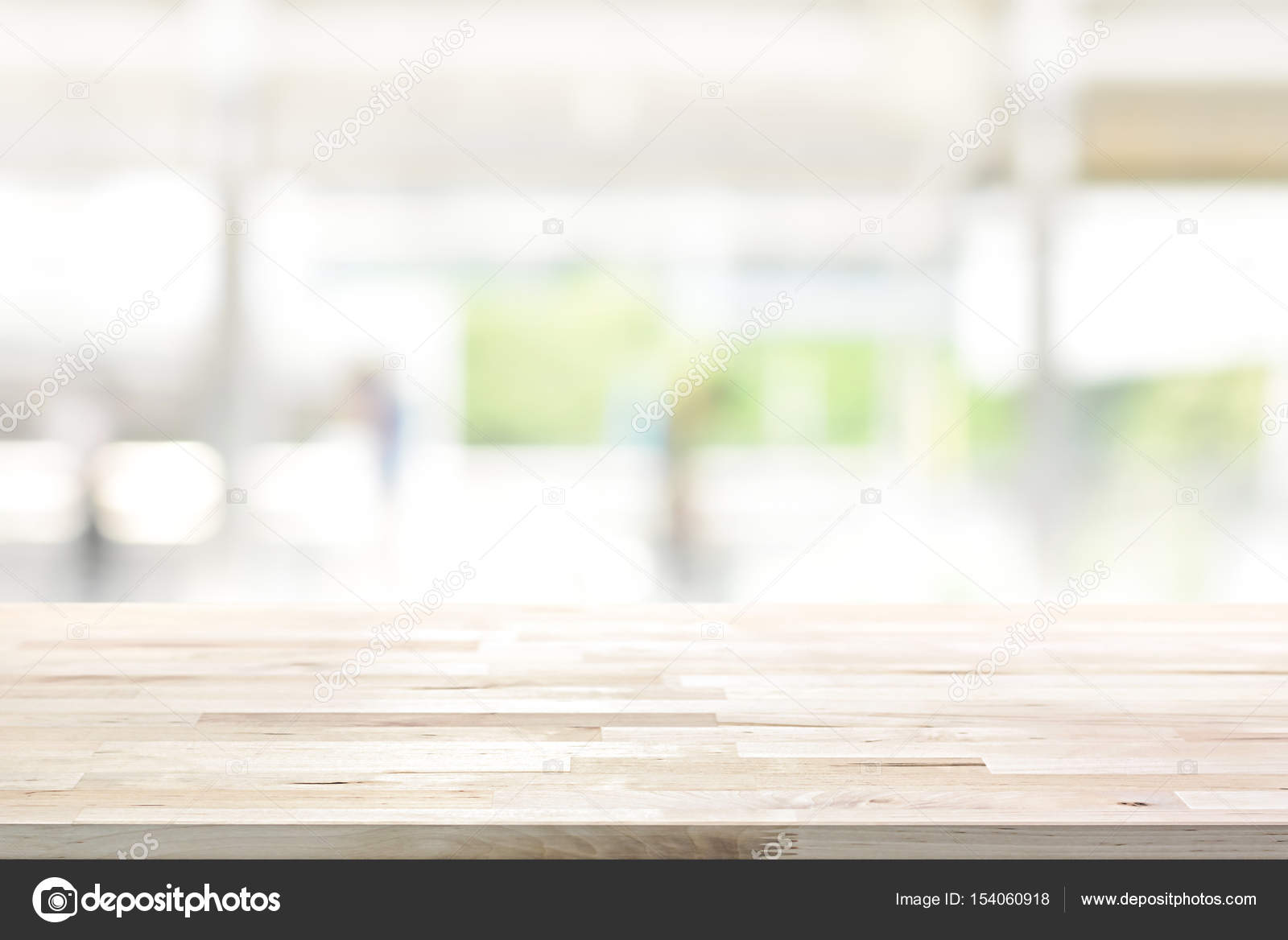 Wood table top on blur kitchen window background 9