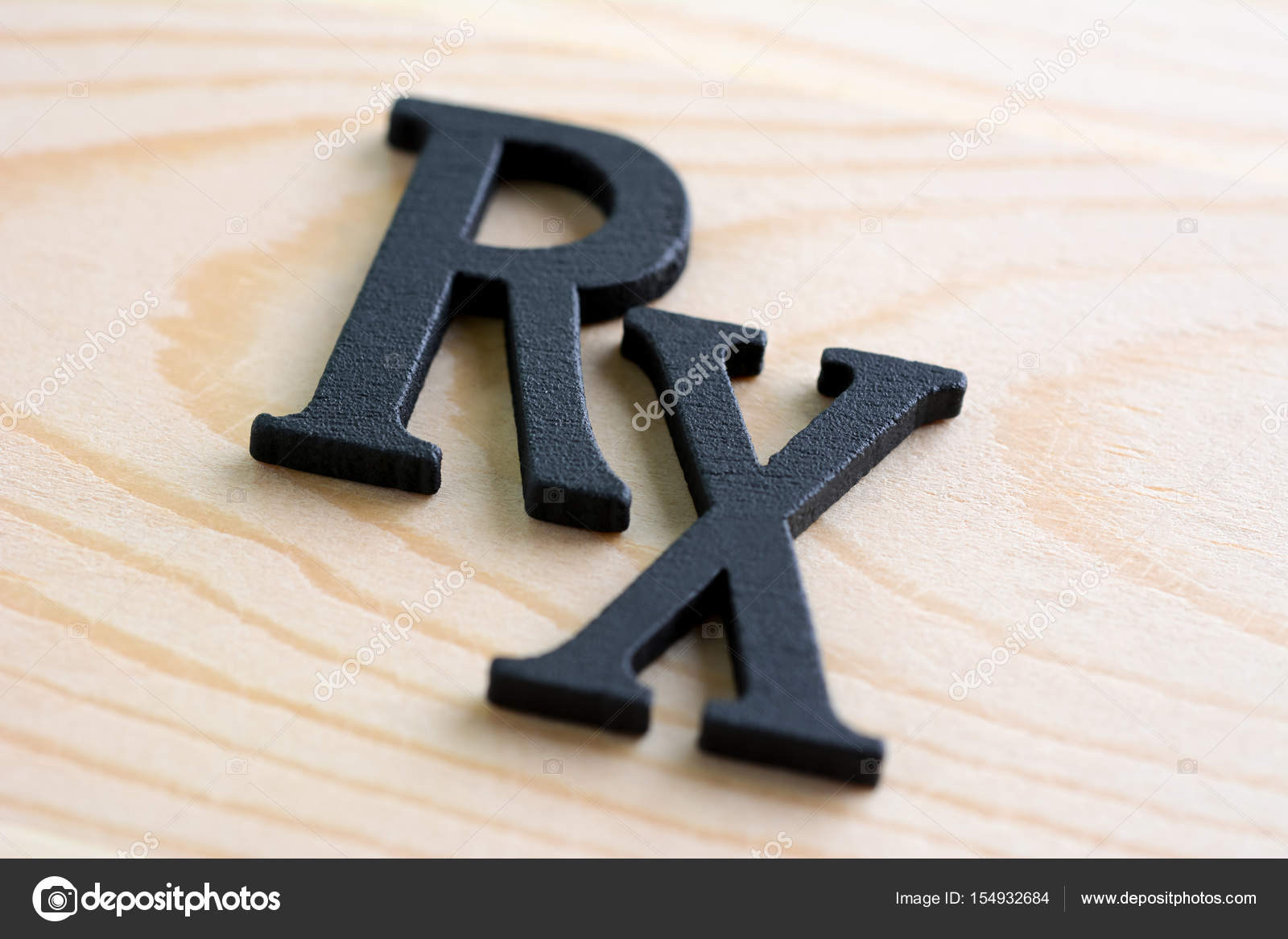 Rx Medical Prescription Symbol On Wood Background Stock Photo
