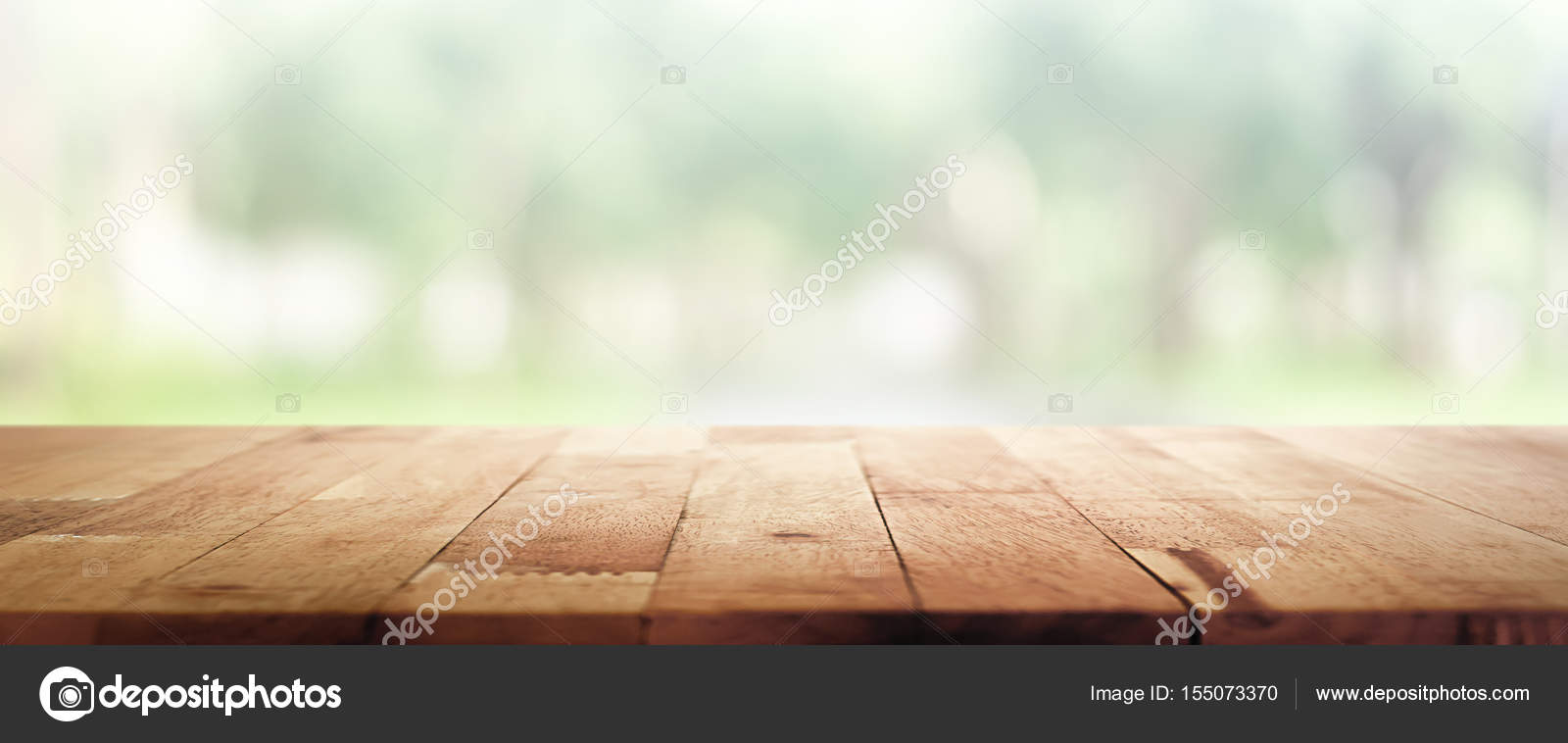 Wood Table Top On Blur Green Panoramic Banner Background Of Tree In The  Park U2014 Stock