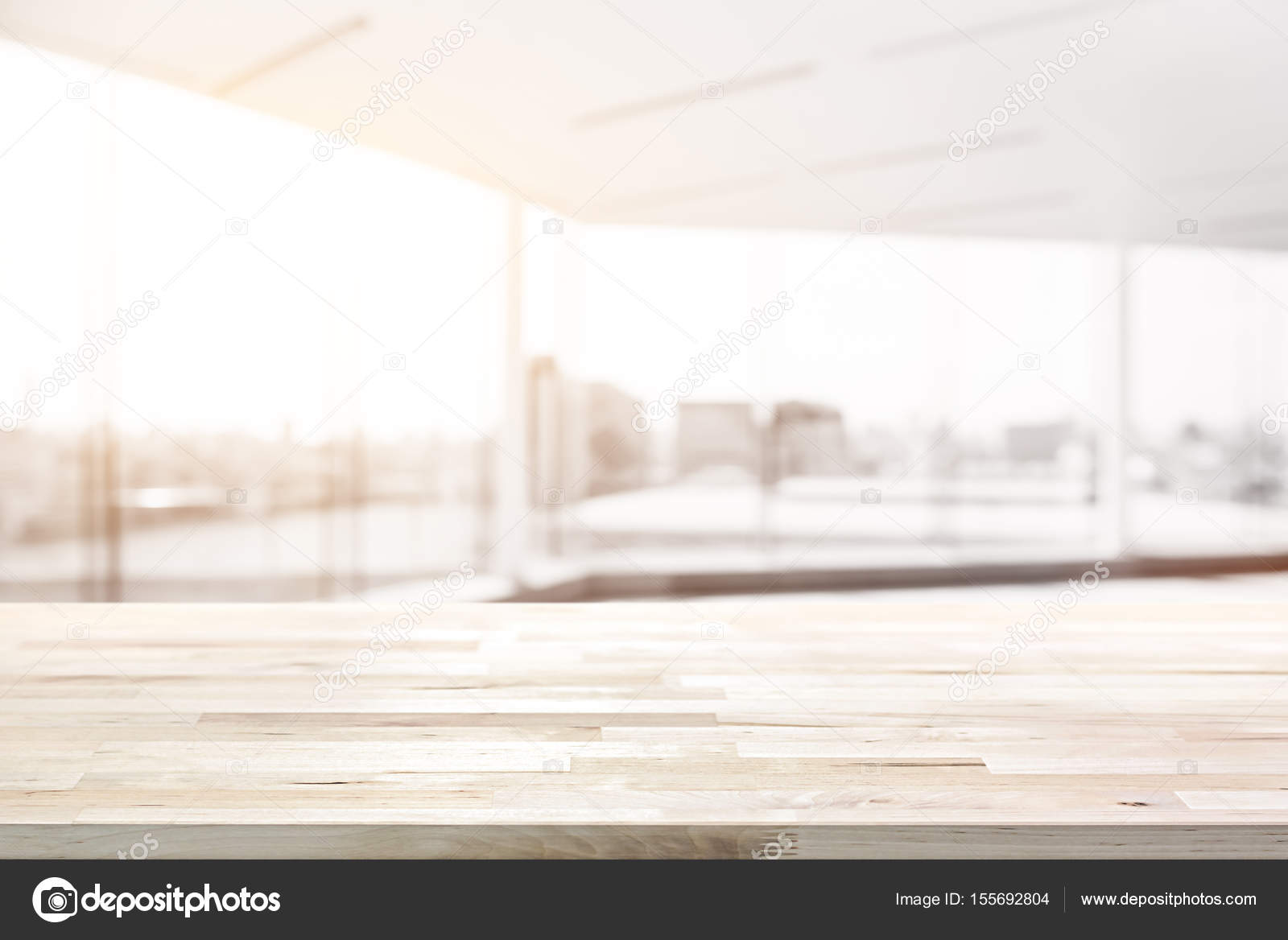 Wood Table Top In Blur Empty White Office Room With Glass Wall And City  Building View In Background   Can Be Used For Display Or Montage Your  Products ...
