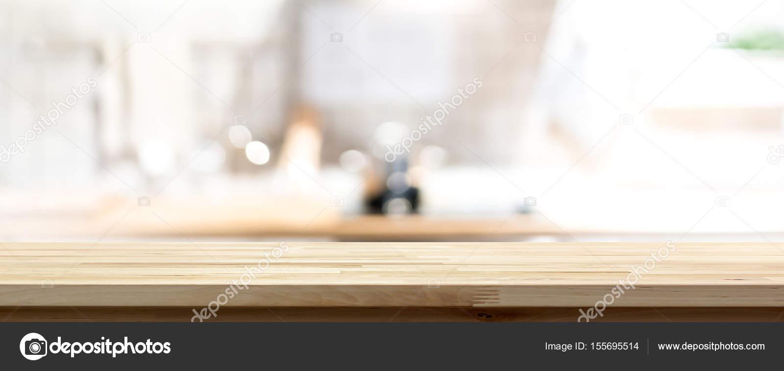 Holz Arbeitsplatte Oder Kochinsel Auf Unscharfe Kuche Interieur