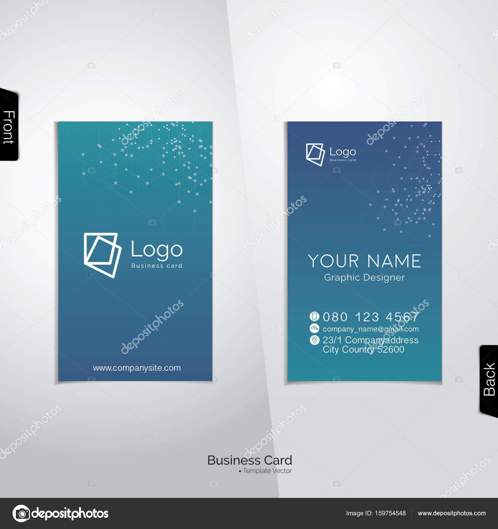 Modern vertical business card vector template — Stock Vector ...