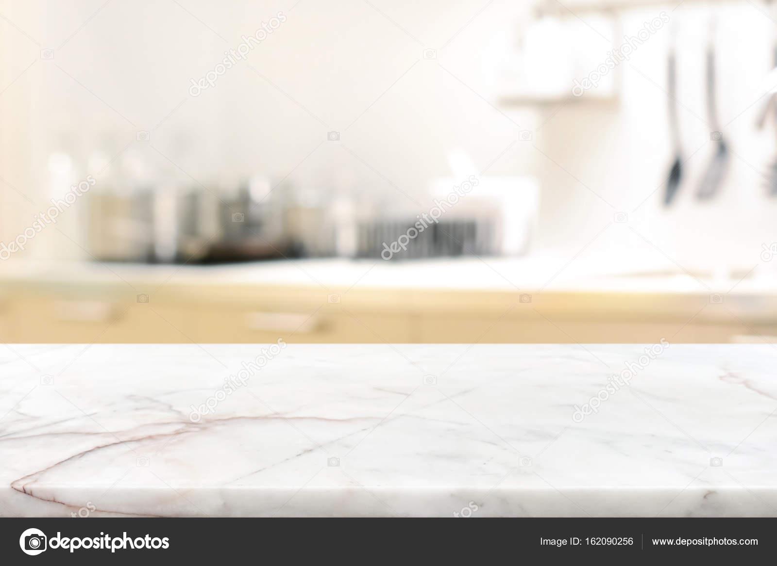 Marble Stone Table Top (kitchen Island) On Blur Kitchen Interior U2014 Stock  Photo