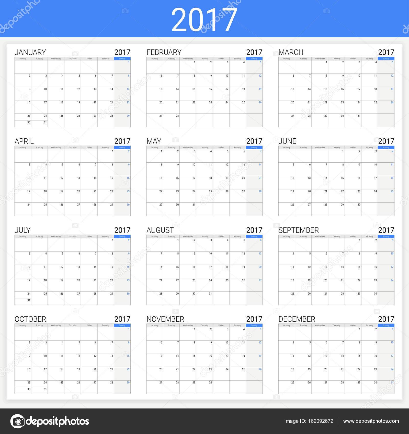 2017 Calendar Or Desk Planner 12 Month Set Stock Vector