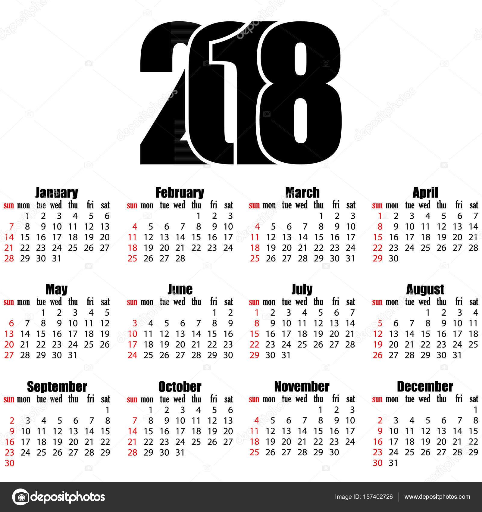 Calendar Number Design : Calendar year flat design simple style — stock