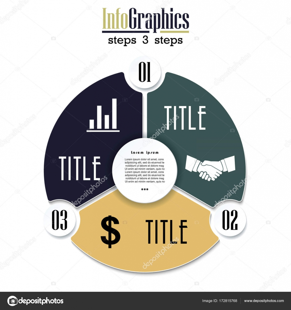 vector circle chart infographic template with 3 options stock vector