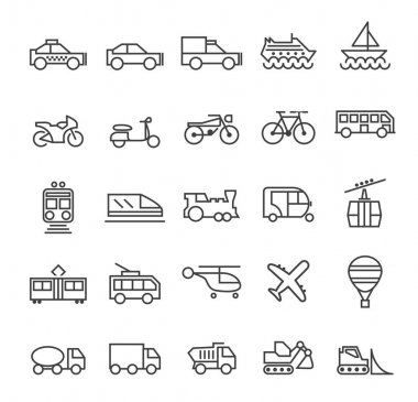 Set of Quality Universal Standard Minimal Simple Transport Black Thin Line Icons on White Background