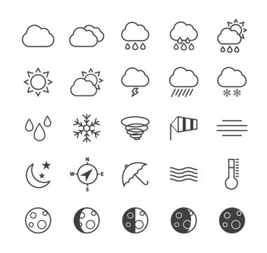 Set of Quality Isolated Universal Standard Minimal Simple Weather Black Thin Line Icons on White Background