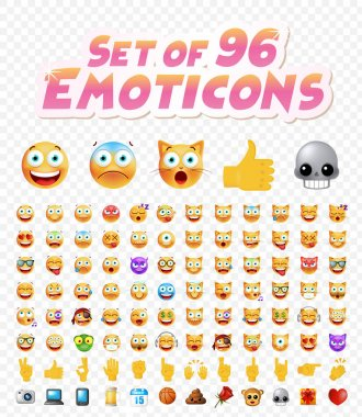 Set of 96 Cute Emoticons on White Background. Isolated Vector Illustration