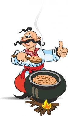 Ukrainian Cossack cooking food