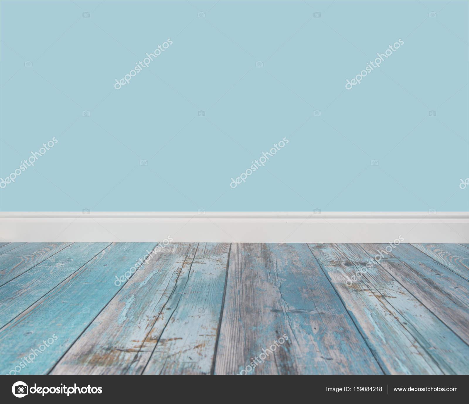 Leeren Wohnzimmer Einstellung blauen Wand und blau Holzboden ...