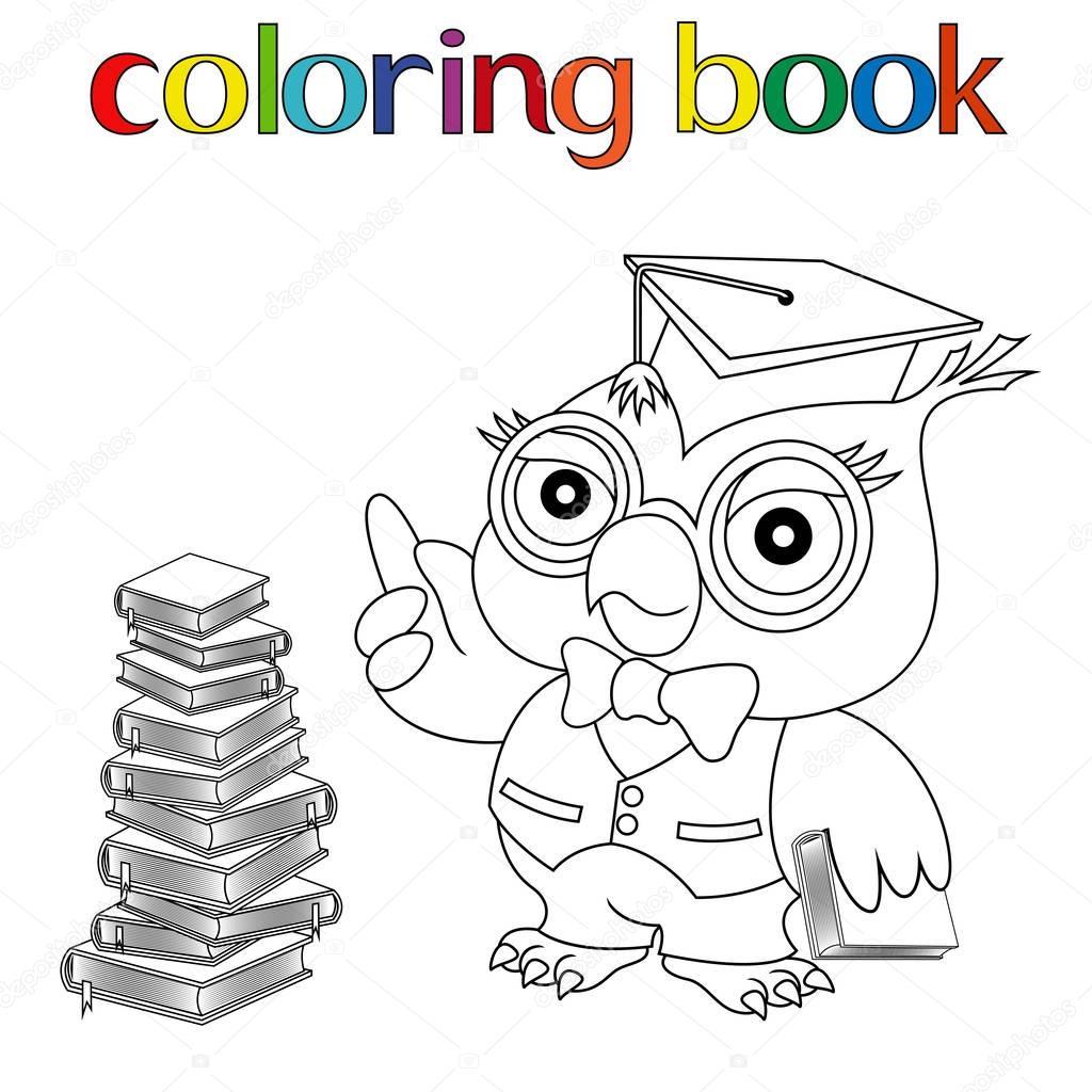 Сова на книгах раскраска | Сова учитель раскраска. Учитель ...
