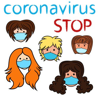 Stop coronavirus, women in medical masks, vector illustration