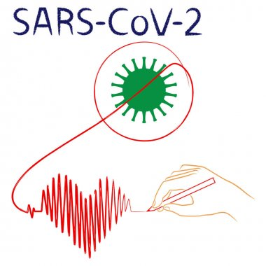 Human hand crosses the structure of coronavirus and draws cardiogram in the form of heart, symbolizing life, in continuous red line, isolated on the white background