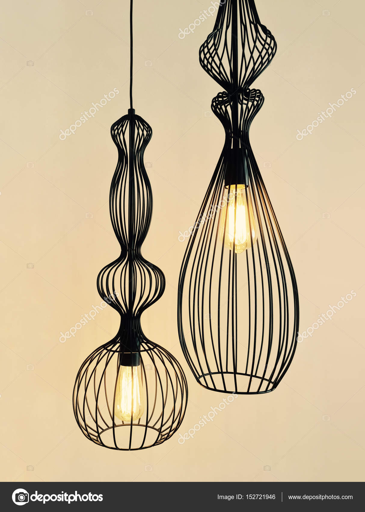 Pendant lamps made of black metal wire — Stock Photo © GoodMoodPhoto ...