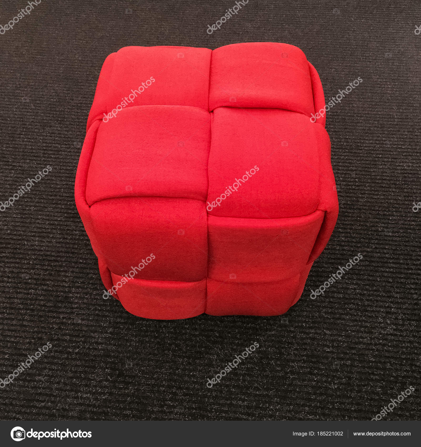 Astounding Modern Red Cube Chair On Gray Carpet Floor Stock Photo Machost Co Dining Chair Design Ideas Machostcouk