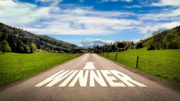 Ulice podepsat cestu jako vítěz