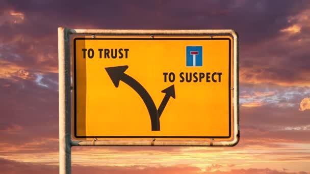 Straßenschild der Weg zum Vertrauen versus zum Verdächtigen