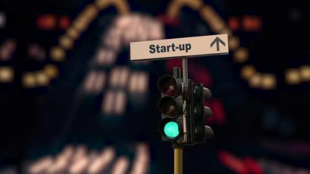 Straßenschilder weisen den Weg zum Start-up