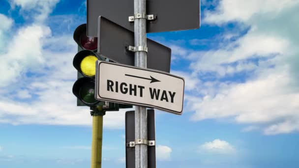 Street Sign the Way to Right Way