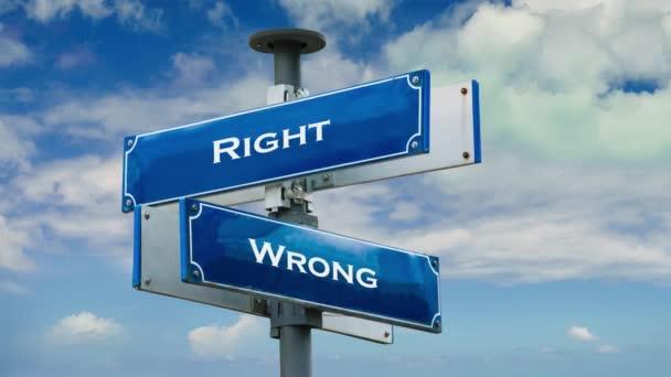 Straßenschild weist den Weg nach rechts gegen falsch