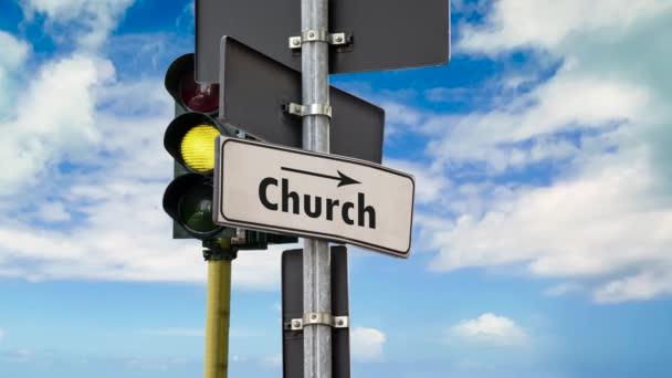 Street Sign az út a templomba