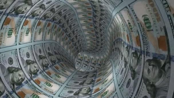 Kamera se pohybuje v tunelu dolarů