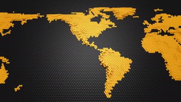 Sechsecke gebildet eine Reliefkarte der Erde. Schwarzer Hintergrund, Schleife, 4 in 1, erstellt in 4k 3d Animation