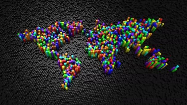 Sechsecke bildeten eine Weltkarte. schwarzer Hintergrund, Loop, erstellt in 4k, 3D-Animation