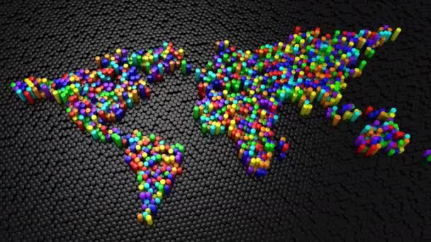 Válce vytvořil mapu světa. Černé pozadí, smyčky (151-450 snímků), vytvořené v rozlišení 4k, 3d animace