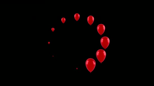 Balónky tvoří nakládací kruh. Černé pozadí, smyčka, 2 v 1, alfa matná, 3d vykreslování, rozlišení 4k