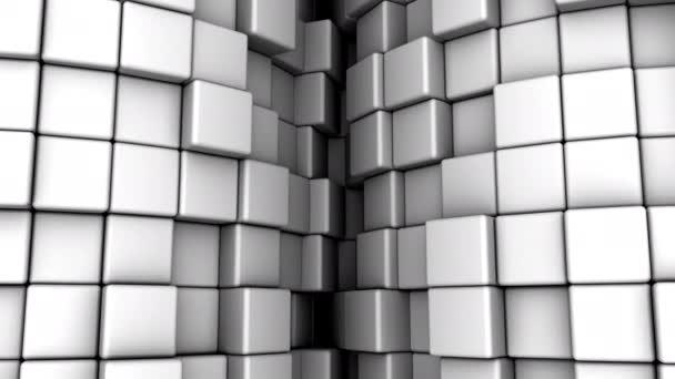 Pozadí kostek. Abstraktní pohyb, smyčka, 3D vykreslování, rozlišení 4k