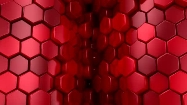 Hintergrund der Sechsecke. Abstrakte Bewegung, Schleife, 3D-Darstellung, 4k-Auflösung