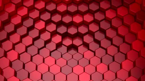 Sechsecke bilden eine Welle. Schleifenhintergrund, 5 in 1, 3D-Darstellung, 4k-Auflösung