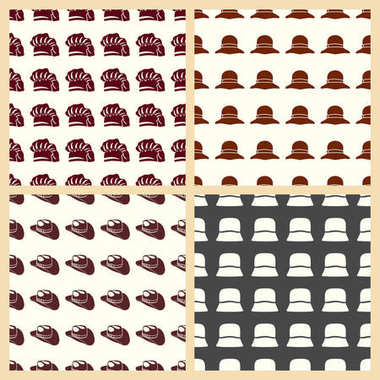Headdresses for women vector illustration on a seamless pattern background
