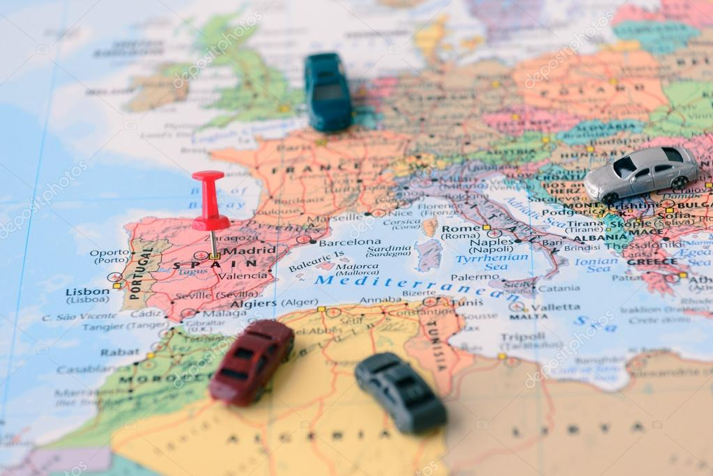 Pinned on map of Madrid in Spain and miniature car Stock Photo