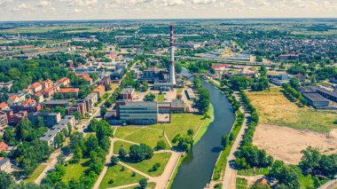 Beautiful panoramic Aerial view photo from flying drone on Klaipeda city center a sunny summer day. Klaipeda, Lithuania (series)