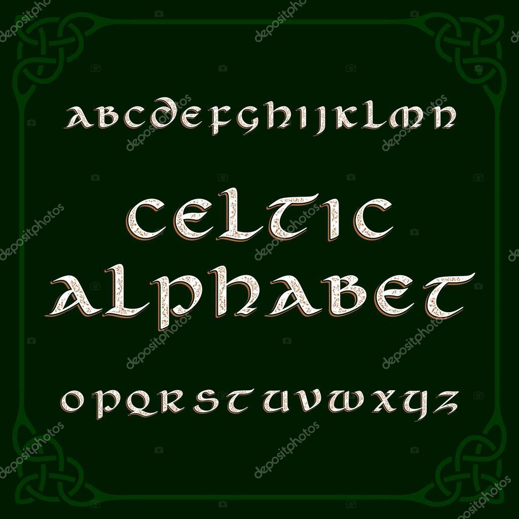 Letra del alfabeto céltico. Letras y nudo marco de dificultades ...