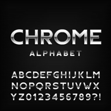 Chrome alphabet font. Metal effect italic letters and numbers.