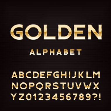 Golden alphabet font. Metal effect letters and numbers.