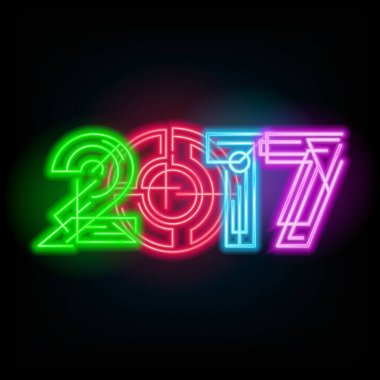New year neon sign. 2017 text on a dark background.